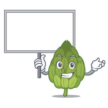 Bring board artichoke character cartoon style.