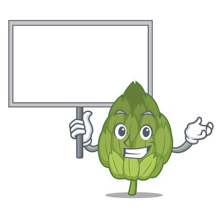 Bring board artichoke character cartoon style.
