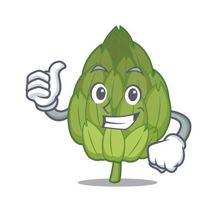 Thumbs up artichoke character cartoon style.
