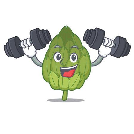 Fitness artichoke character cartoon style vector illustration