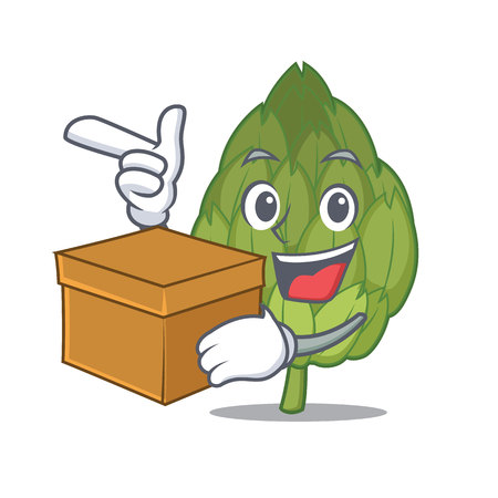 With box artichoke character cartoon style Illustration