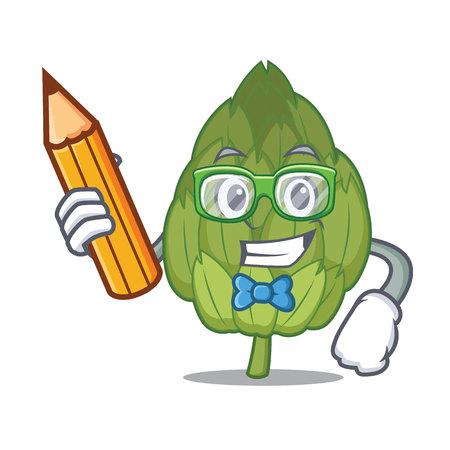 Student artichoke character cartoon style