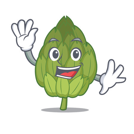 Waving artichoke character cartoon style Illustration