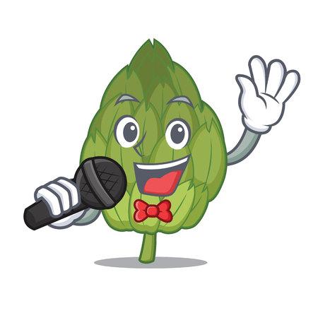 Singing artichoke mascot cartoon style