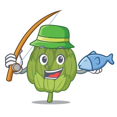 Fishing artichoke mascot cartoon style
