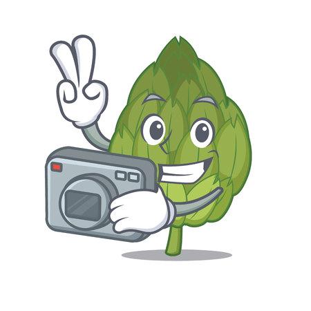 Photographer artichoke mascot cartoon style