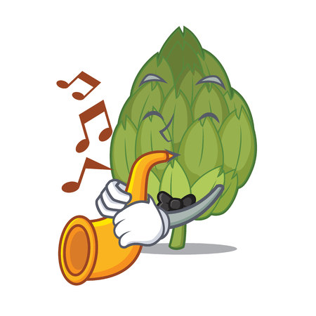 With trumpet artichoke mascot cartoon style