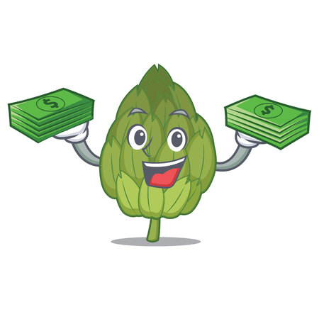 With money artichoke mascot cartoon style