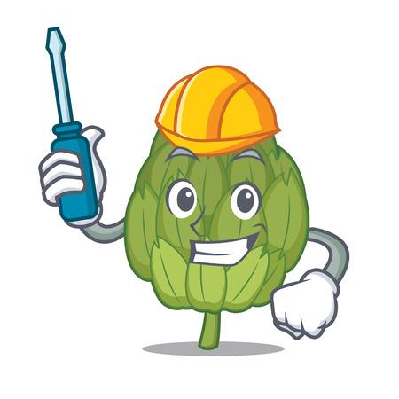 Automotive artichoke mascot cartoon style vector illustration