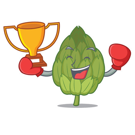 Boxing winner artichoke mascot cartoon style vector illustration