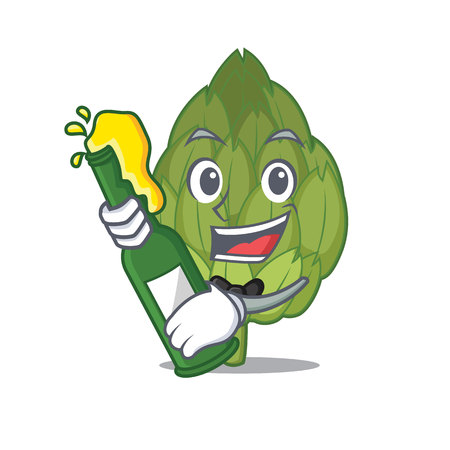 With beer artichoke mascot cartoon style vector illustration