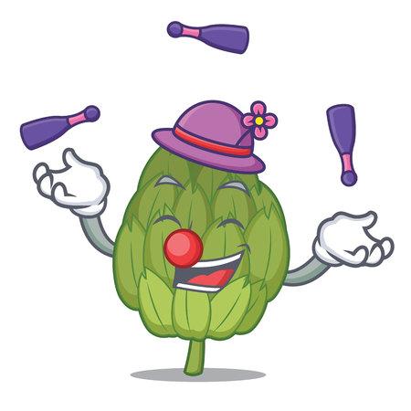 Juggling artichoke mascot cartoon style Illustration