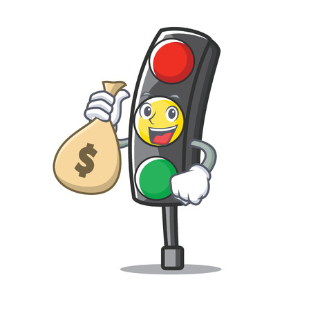 With money bag traffic light character cartoon vector illustration. Illustration