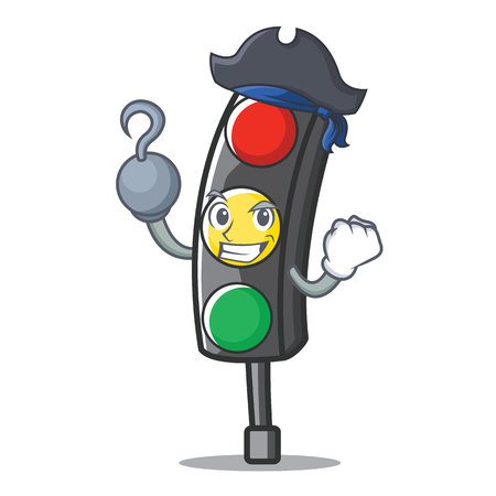 Pirate traffic light character cartoon Illustration