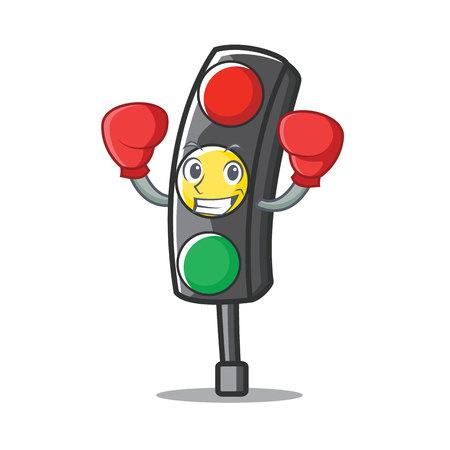 Boxing traffic light character cartoon vector illustration