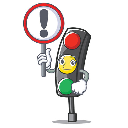 With sign traffic light character cartoon vector illustration