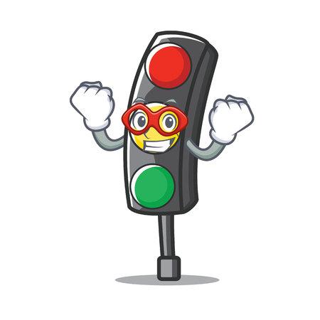 Super hero traffic light character cartoon vector illustration