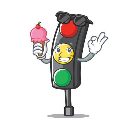 With ice cream traffic light character cartoon vector illustration