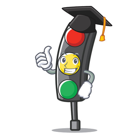 Graduation traffic light character cartoon vector illustration