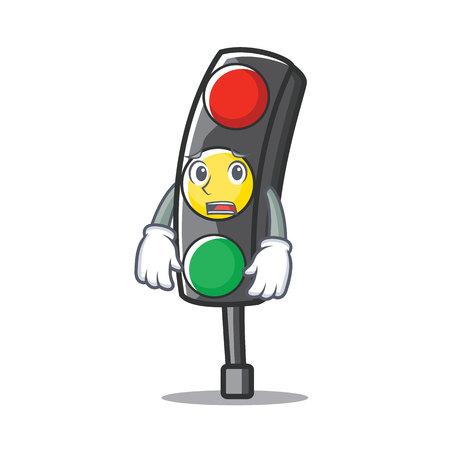 Tired traffic light character cartoon vector illustration