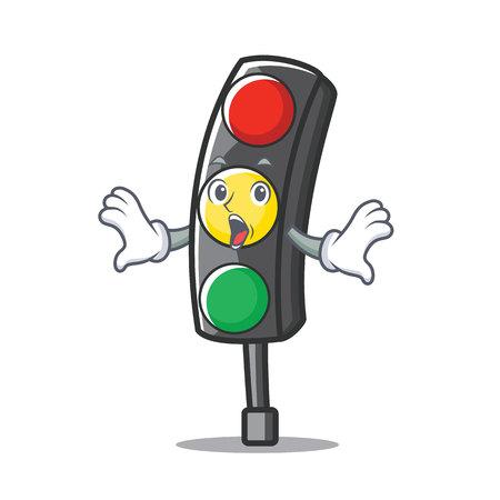 Surprised traffic light character cartoon vector illustration Illustration