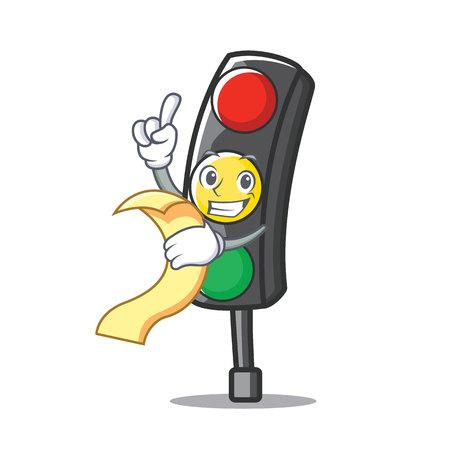 With menu traffic light character cartoon Illustration