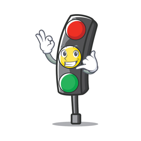 Call me traffic light character cartoon vector illustration Illustration