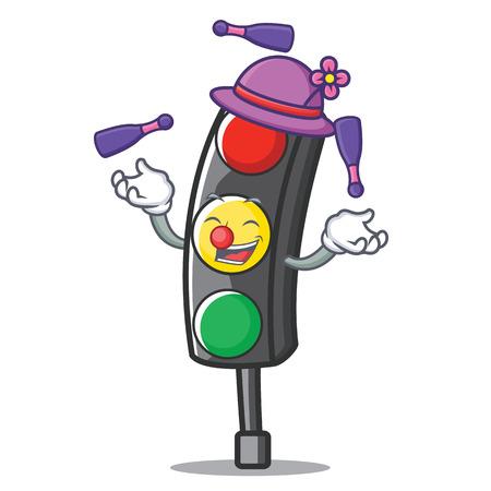 Juggling traffic light character cartoon vector illustration