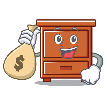 With money bag wooden drawer character cartoon vector illustration Illustration