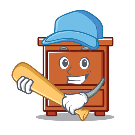 Playing baseball wooden drawer character cartoon vector illustration