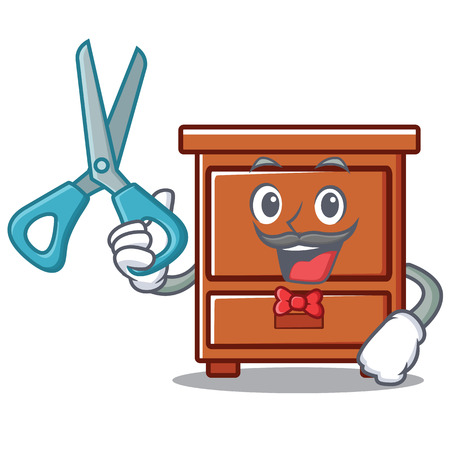 Barber wooden drawer character cartoon vector illustration Illustration