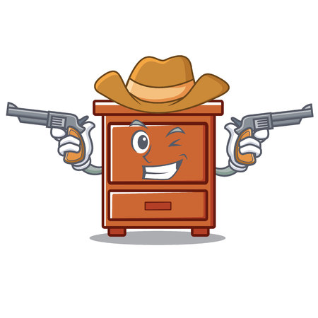 Cowboy wooden drawer character cartoon vector illustration Illustration