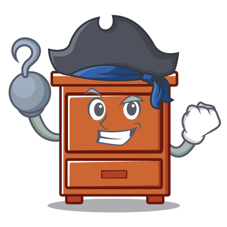 Pirate wooden drawer character cartoon vector illustration Illustration