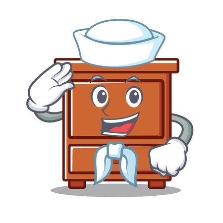 Sailor wooden drawer character cartoon vector illustration Illustration