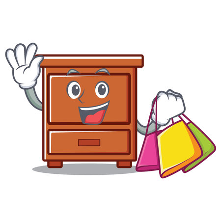 Shopping wooden drawer character cartoon vector illustration Illustration