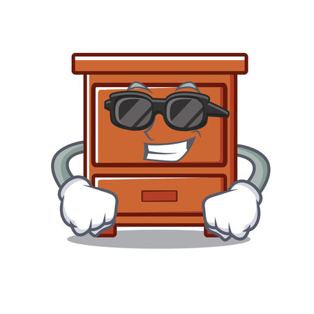 Super cool wooden drawer character cartoon vector illustration Illustration