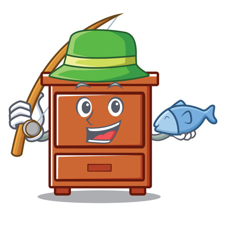 Fishing wooden drawer mascot cartoon vector illustration