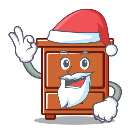 Santa wooden drawer mascot cartoon vector illustration
