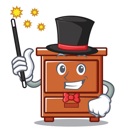 Magician wooden drawer mascot cartoon