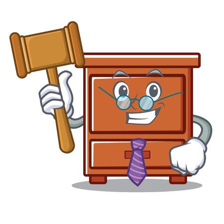 Judge wooden drawer mascot cartoon Illustration