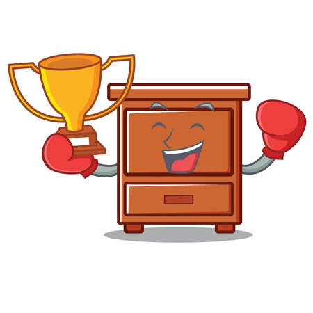 Boxing winner wooden drawer mascot cartoon vector illustration Illustration