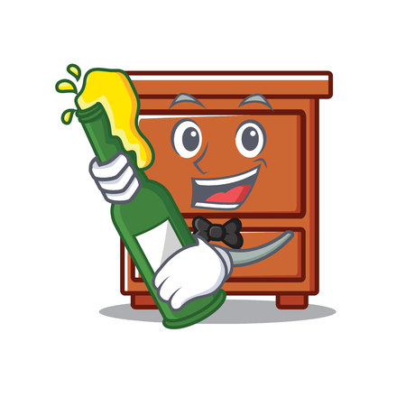 With beer wooden drawer mascot cartoon vector illustration