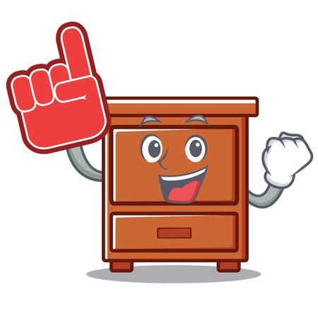 Foam finger wooden drawer mascot cartoon vector illustration