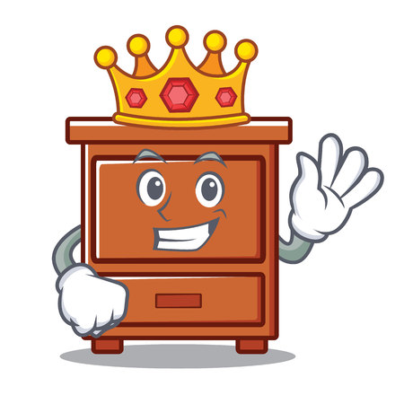 King wooden drawer mascot cartoon vector illustration