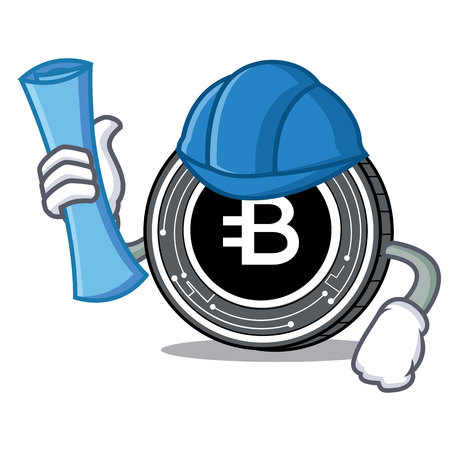 Architect Bytecoin coin character cartoon vector illustration Ilustração