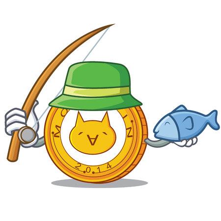Fishing Monacoin mascot cartoon style vector illustration.