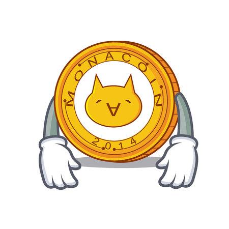 Tired Monacoin mascot cartoon style vector illustration.