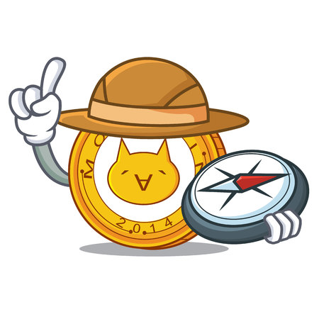Explorer Monacoin mascot cartoon style vector illustration.