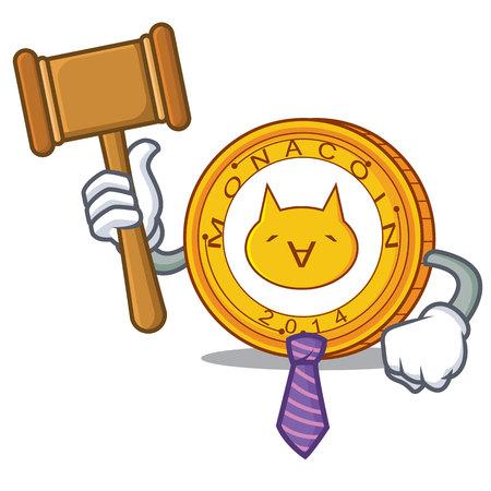 Judge Monacoin mascot cartoon style vector illustration. Illustration
