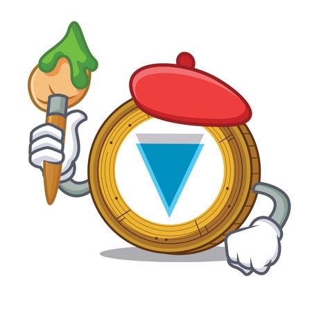 Artist Verge coin character cartoon vector illustration Illustration